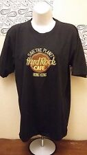 Hard Rock Cafe Hong Kong Women Size L T-Shirt Black Embroidered Short Sleeve
