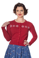Women's Red Retro Rockabilly Vintage 50's Snowflake Cardigan By Banned Apparel