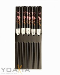 [ 5 Paar ] Essstäbchen aus Bambus [ Design KIRSCHBLÜTE ], Japan Style