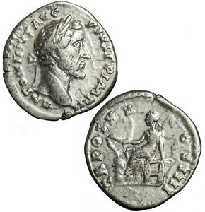 Silver denarius of Antoninus Pius.  Salus with snake reverse.