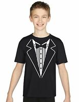 Tuxedo 4 Fancy Dress Halloween Cool Boys Girls Kids Top T Shirts Age 3-13 Years