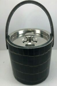Tommy Bahama Stainless steel Ice Bucket w/ faux leather & Lid Barware