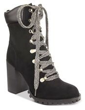 MATERIAL GIRL HAZIL LACE-UP PLATFORM BOOTS BLACK 9 M NWB LUG  BOOTIES ROUND TOE