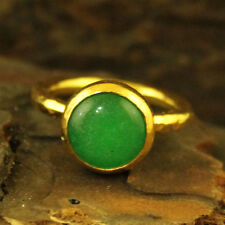 Handmade Hammered Designer Round Jade Stack Ring 24K Gold Over Sterling Silver