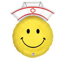 "Smiley Face Nurse Mylar Balloon 14"" Foil Red Cross Nurse Hat Yellow Emoji 3 Pack"