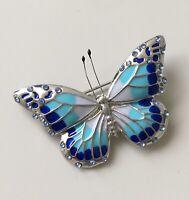Unique  blue monarch butterfly  brooch pin in enamel on metal