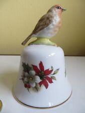 Vintage Corona Bone China cerámica de Robin Pájaro y Flor de mesa Campana de Mano