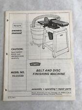 Craftsman 113.22520 Belt and Disc Finishing Machine Instructions MANUAL