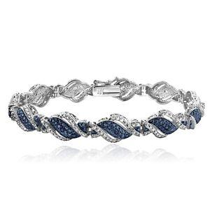 1/4 Ct Blue & White Diamond Twist Bracelet in Brass