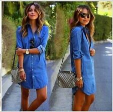 Fashion Women Mini Denim Jeans Button Pocket  Mini Shirt Wrap Dress Size 6 - 16