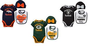 NFL baby Infant Girl's Always Bow Bodysuit Cap & Bib Gift Set