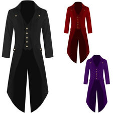 Men's Vintage Steampunk Tailcoat Jackets Gothic Coat Attached Waistcoat S-4XL UK