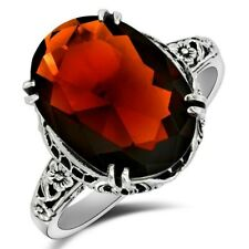 6CT Fire Garnet 925 Sterling Silver Filigree Ring Jewelry Sz 6, W-36