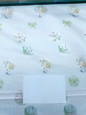 Fabric Silk Brocade White and colorful Season Floral  -by half yard-