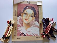 FRENCH NEEDLEPOINT OF CRYING LADY W/THREAD, 100% COTTON  - 13 X 8 1/2