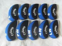 Bundle 10X Golf Iron Headcovers for Callaway Club Covers 4-LW Caps Blue&Black