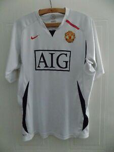 Manchester United Football Shirt Nike Original White Top Soccer Jersey Mens Size