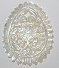 AAA BIG Carved  MOP   Drop  Pendant TOP Quality 45x35mm Mother Of Pearl Antique
