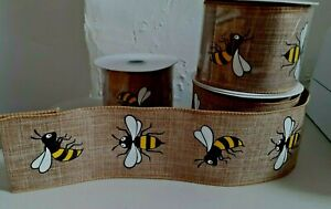 """1 metre 63mm (2.5"""") NATURAL HONEY BUMBLE BEE WIRED EDGE RIBBON WREATHS BOWS"""