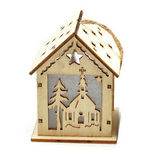 G71 Christmas Ornamental Wooden Church Village Scene Pre-Lit LED Xmas Decoration