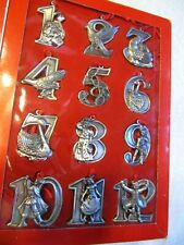 12 Days of Christmas Ornament Set (12) Lillian Vernon, New Old Stock, Metal