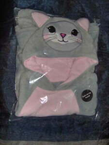 GIRLS FLEECE CAT PONCHO WITH HOOD IN GREY/PINK  - ONE SIZE Approx age 4-7 yrs