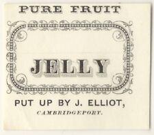 19th Century Pure Fruit Jelly - Cambridgeport Massachusetts Label - Cambridge