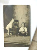 RPPC Cute Little Kids Boy w Rabbit Cast Iron Bank? Old Toy Real Photo Postcard
