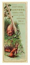 Victorian Advertising Card / Bookmark - Fox & Rabbit - Croft Bros - Oriental Rug