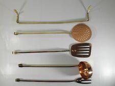 New listing Copper & Brass Cooking Utensils With Brass Hook Bar, 5 Piece Copper Utensils Set