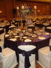 """10 Pack 132"""" Round Wedding Satin Tablecloths 30 Colors 6ft Table Cover Made USA"""