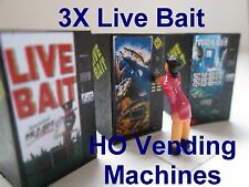 3X HO Scale Live Bait Vending Machine Great Machines DIORAMA 3 Pcs