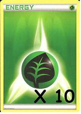 POKEMON: 10 GRASS / LEAF ENERGY CARDS - NEW - UNUSED