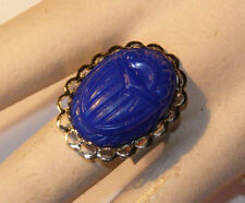 VINTAGE ROYAL BLUE PLASTIC SCARAB OVAL RING CHUNKY COSTUME 25 x 18mm