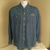 Cyrk Mens Button Front Shirt 100% Cotton Denim Blue Medium Peterbilt Trucks Logo