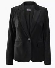 M&S Ladies Velvet Fitted Blazer Black Size 18 Long Sleeve New With Tags