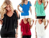 CUT OUT COLD SHOULDER BATWING CHIFFON SUMMER BLOUSE TANK PARTY TOP SIZE 10 - 18