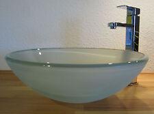 Aufsatz Glas Waschbecken Waschschale Satiniert Milchglas Rund Waschtisch  42cm