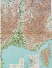 Map of France South East Large 1922 Original Antique