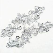 1 Pair Lace Applique Flower Sewing Embroidery Trims Wedding Dress Decoration Grey