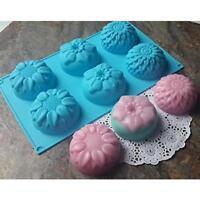 6 Cavity Flower Silicone Fondant Mold Cake Chocolate Decor Baking Mould Tools AL