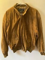 Norm Thompson Mens Brown Suede Leather Jacket Bomber Size Medium