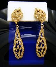 Vintage Crown Trifari Runway Dangle Drop Clip Earrings Open Work Gold Tone