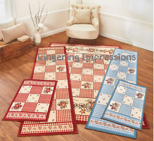 Burgundy Blue Area Rug Nonskid Hearts Berries & Stars Country Rustic Primitive