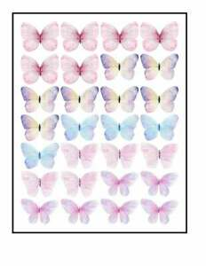 Edible Pre-Cut Wafer Butterfly  - Water Color Pack of 28