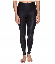Alo Yoga Women's High Waisted Moto Black Performance Leather Leggings Size XS