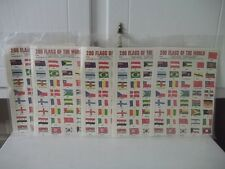 VINTAGE LOT OF 5 PACKS WORLD OF NATIONS FLAG STAMPS 200 PER PACK 1000 STAMPS NOS