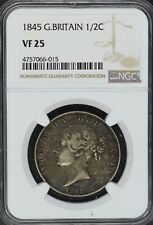 1845 G. Britain 1/2 Crown NGC VF25