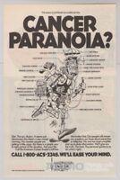 AMERICAN CANCER SOCIETY Jack Davis art '90s PRINT AD Cancer Paranoia advert 1991