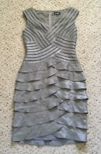 Adrianna Papell Gray Taupe Shimmer Ruffle Tiered Sleeveless Evening Dress 8
